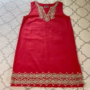 Mudpie Coral Red Shift Dress with Gold detail